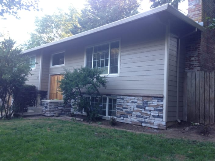 James Hardie Siding & Trim with Exterior Sherwin Williams paint and new Stone