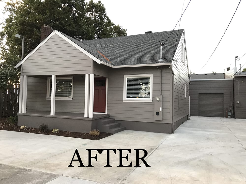after siding taupe house