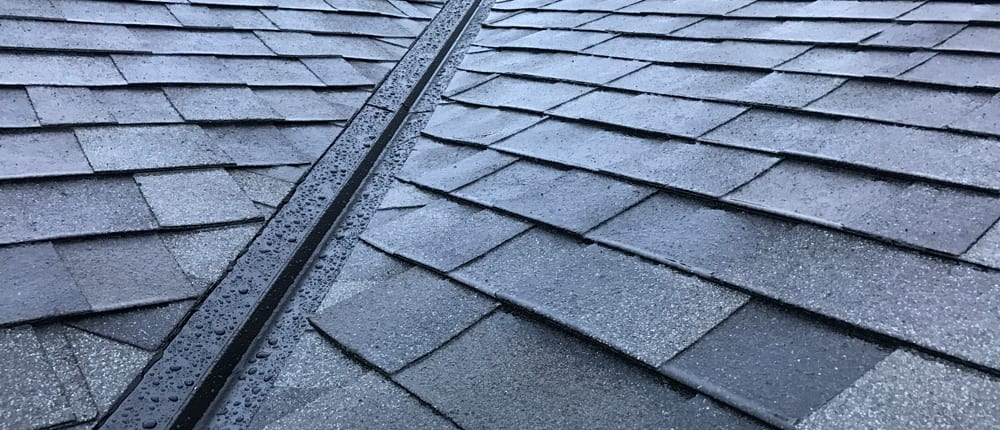 close up of roofing shingles