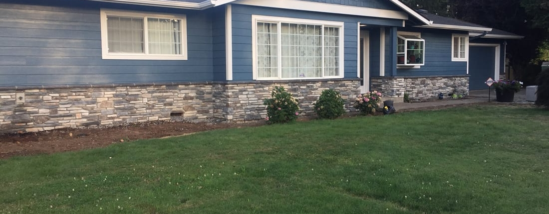 additional angle of stone work done on a home