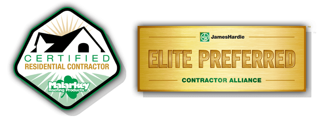 certified residential contractor and james hardie preferred contractor badge