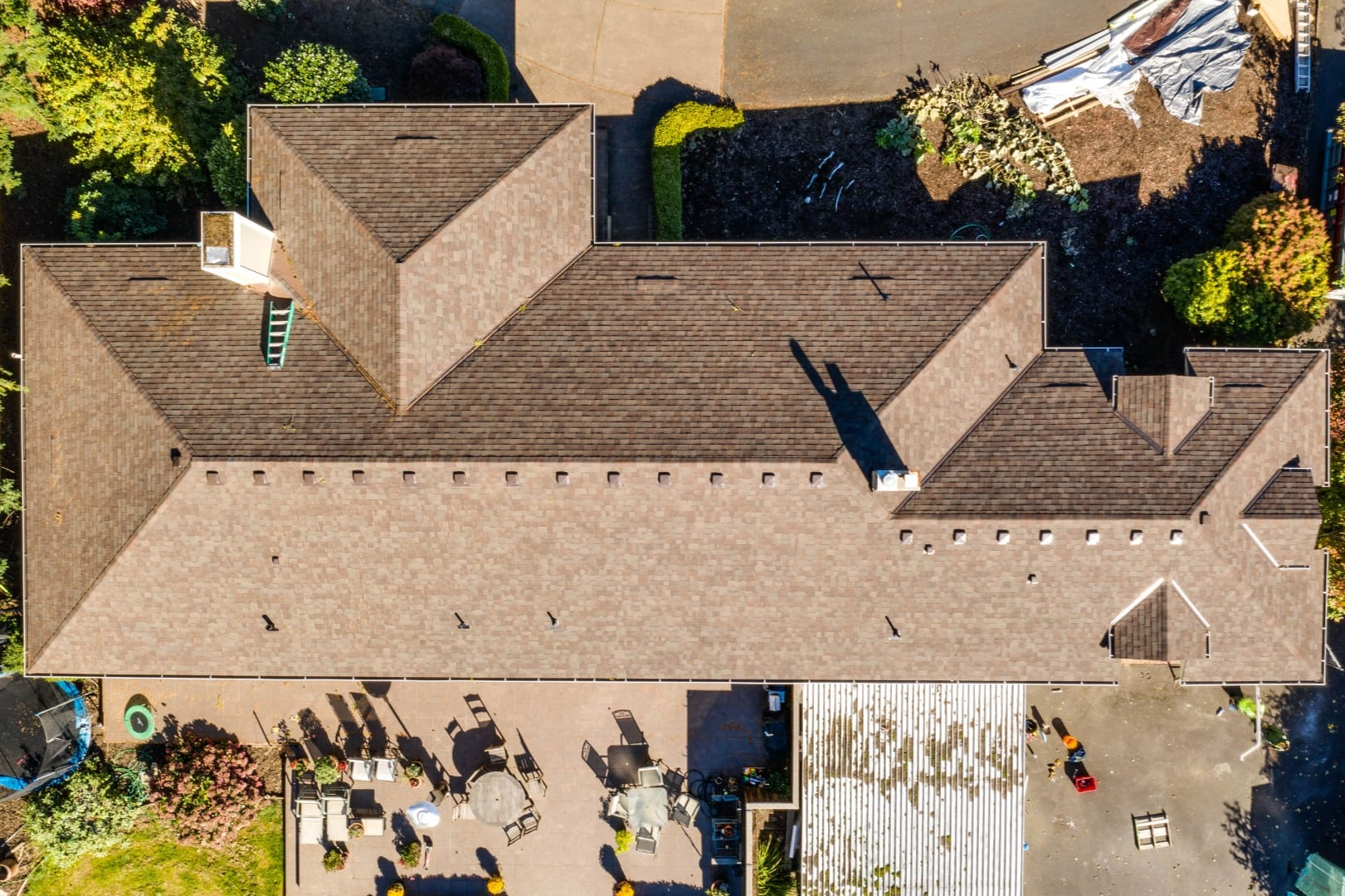 KVN Construction roofing project after picture from above in Portland