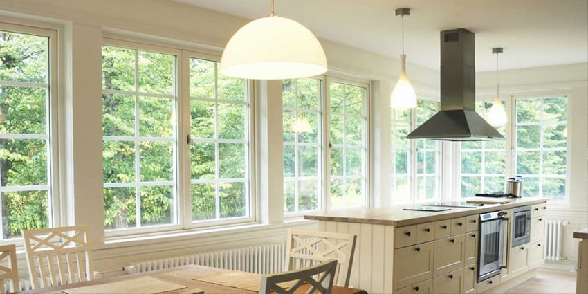 bright big white windows installed in a kitchen by KVN construction